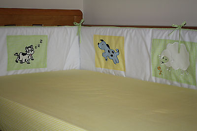 NEW unisex baby cotbed/cot BUMPER (bedding, nusery)  farm animals design