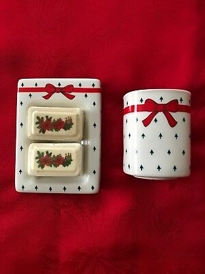 Vintage Ceramic Christmas Bath Set Never Used Soap Dish, Cup And Two Soaps