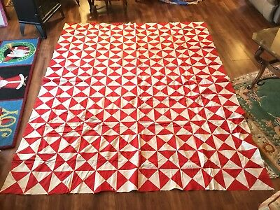 Vintage 1950s Quilt Top Red White Graphic Pinwheel Hourglass Pattern 70x87 Hand