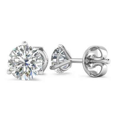 14k White Gold 3-Prong Martini Diamond Stud Earrings - 1.00 ct D-SI1 , Butterfly