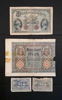 1914 German Empire 5 Mark; 1920 100 mark Banknotes Well Circulated