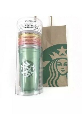 2018 Starbucks Reusable 16oz Cup Collection With Lids Shimmery Pearl 6 Cups New