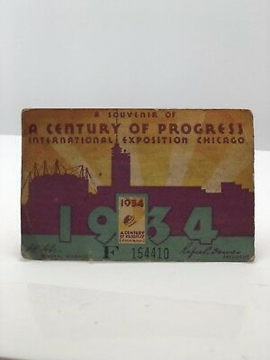 Chicago Illinois 1934 Century of Progress Worlds Fair Ticket Stub