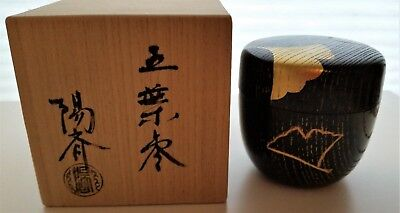 Japanese Lacquer Wooden Tea Caddy OH Natsume with Ginkgo Design and Signed Box
