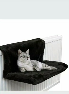 Black Comfy Radiator Cat/Kitten Bed Warm Heated Snug/Basket Hammock Pet Cradle