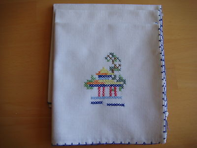 Vintage Hand Embroidered Linen Napkins - Set Of Three