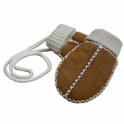 Lambskin Sock Mittens on String - Camel baby/toddler great Xmas present 🎄