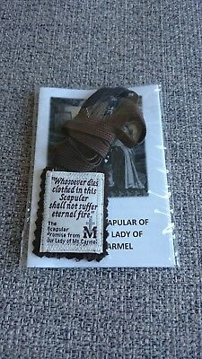 Pure Wool Mt Carmel Long Cord Brown Scapular with leaflet (1pcs)