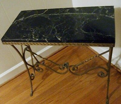 Vintage French Louis XVI Style Marble Top Wrought Iron Entry Hall Console Table