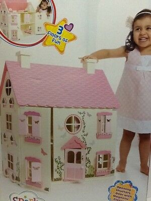 SALE Large Wooden Dolls House Play Girls w/ 30 pcs.Furniture & access. & 8 Dolls