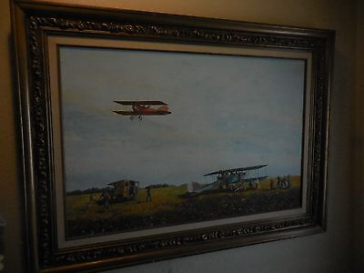 Aviation Oil Painting on Canvas of Antique Planes Test Flights by k. Hermann