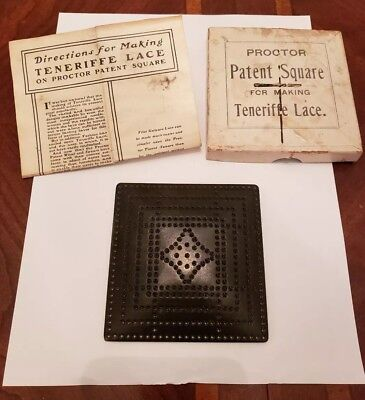 Antique Proctor Square For Making Teneriffe Lace W/ Box And Instructions