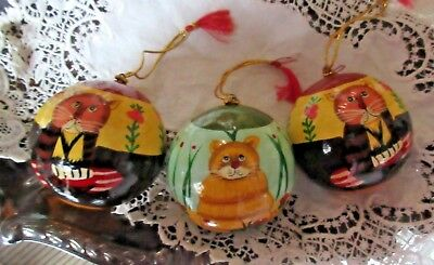 Set of 3 ART Cat Ball Christmas Ornaments Hand Painted Paper Mache