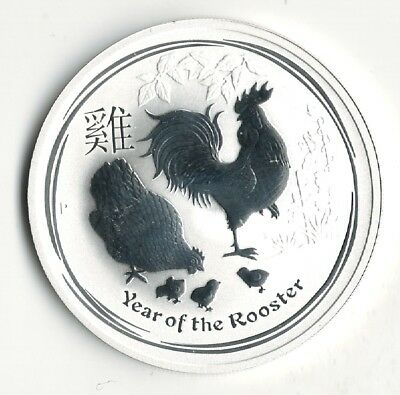 One Ounce 9999 Fine Silver Round Australia Year Of The Rooster 2017