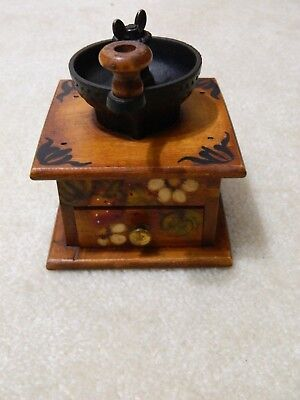 Vintage Wood Cast Iron Coffee Grinder Hand Painted Signed Dated 1975 Hand Crank