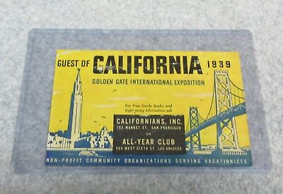 1939 California Guest GOLDEN GATE EXPO Non-Resident Motor Vehicle Permit