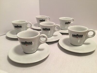 Vintage LavAzza Coffee Expresso Set 6 Cups Black & Red Logo Porcelain Italy