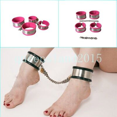 Hand Ankle Cuff Stainless Steel Silicone Lining Perfect Over Latex Bondage Chain