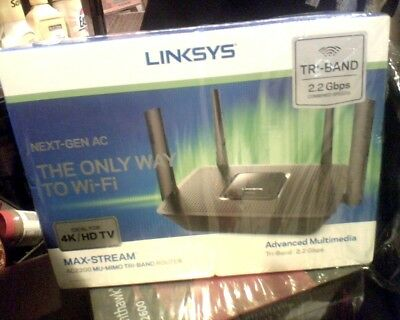 NEW - Linksys EA8300 Max-Stream Mu-Mimo Gigabit Wireless Tri-Band Router AC2200