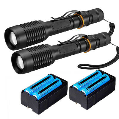 2x Super Bright Tactical 5 Modes Rechargeable LED Flashlight Torch Free shipping
