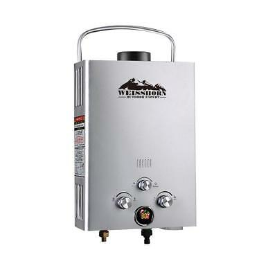 Silver Portable Gas Hot Water Heater Shower Camping Caravan Outdoor LPG 4WD