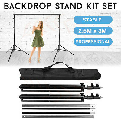 2.5x3M Photo Studio Heavy Duty Backdrop Background Support Stand Kit Frame + Bag