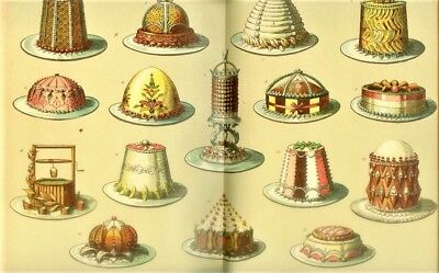 1909 German Victorian Cake Decorating Book Rare With 120 Color Plates Cookbook