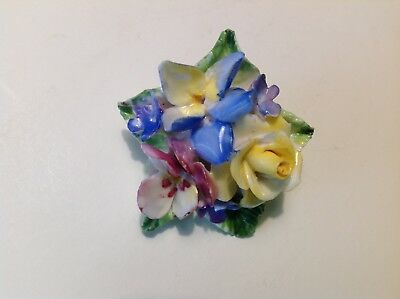 vintage Bone China Porcelain ROSE ORCHID PANSY Flower Bouquet Brooch / Pin