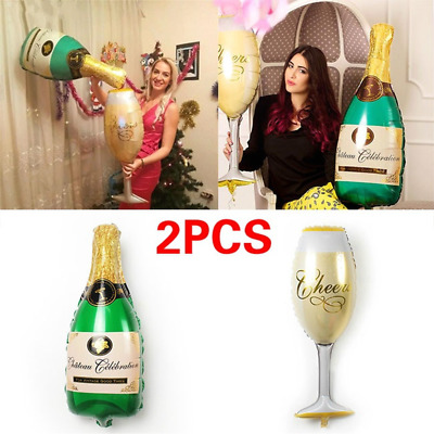 2PC/Set Champagne Bottle and Cup Foil Balloon Birthday Party Decoration Balloons