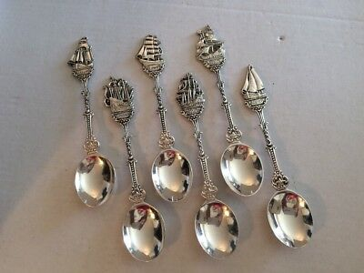 Six Dutch Ship Collector Spoons 90 Gram Silver Plate