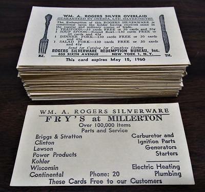 100 Vintage 1960 Fry's At Millerton Wm. A. Rogers Silverware Business Cards Lot