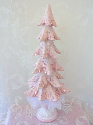 TALL PINK GLITZY TREE CHRISTMAS byDAS hp hand painted chic shabby cottage roses