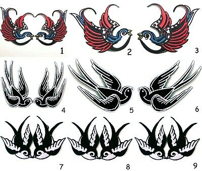 SWALLOW BIRD PATCH Embroidered Iron On CLOTH ABILITY BIRD B๊ULLETPROOF 1 PAIR