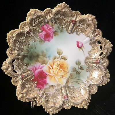 """Nippon Hand Painted Roses With Guilded Gold Plate 10"""" Antique Rare HTF Vintage!"""
