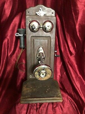 The Dean Electric Co. Antique Crank Wall Telephone Oak Vintage Bell Rings 1900's