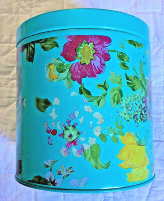 Pioneer Woman Country Garden large turquoise canister storage tin