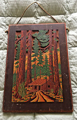 """'GREETINGS from CALIFORNIA"""" Vintage Redwood Carved Wall Hanging Rustic Cabin Art"""