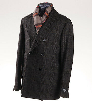 NWT $2995 BELVEST Olive Green Check Wool Peacoat 40 R (Eu 50) M Outer Coat