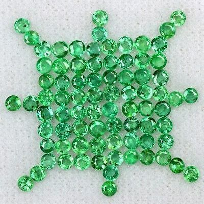 4.70 Cts Natural Top Green Emerald Round Cut Lot Zambia Size 2 upto 2.5 mm Loose