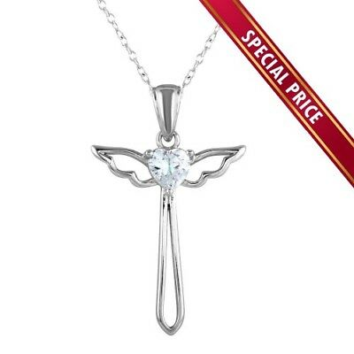 925 Sterling Silver Cross with Angel Wings Necklace Rhodium Plated For Women
