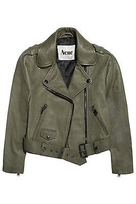 NWT  1200 ACNE STUDIOS MAPE Reptile Embossed Leather Olive Green Jacket 36  NEW b2d0383ad0c