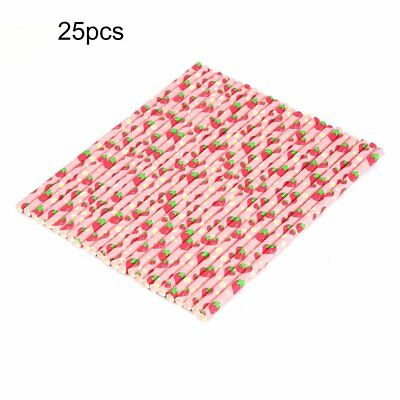 25pcs/Lot Paper Straws Disposable Drinking Straw Birthday Party Lovely Pattern