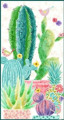 Sun 'N Soil Quilt Panel * Potted Cactus * New * Free Post * Gorgeous *