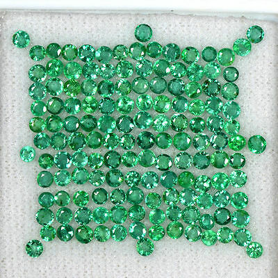 9.59 cts Natural Green Emerald Loose Gems Untreated Round Cut Lot Zambia 2.5 mm