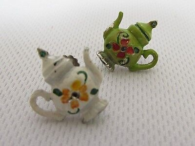 VintageWhite Green Mix Match Teapot Floral Cute Womens Costume Screw On Earrings