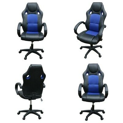 Executive Office Chair Sports Racing Gaming PU Leather Swivel Computer Desk Blue