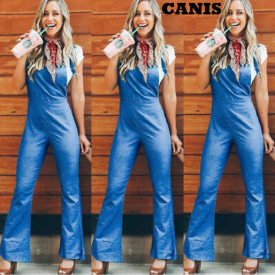 Womens Casual Loose Denim Jeans Pants Overalls Straps Jumpsuit Romper Trousers