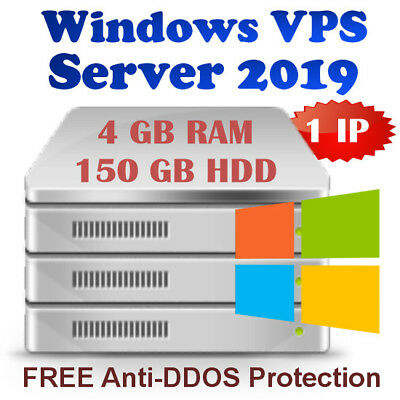 Windows Virtual Dedicated Server 2019 R2 (VPS) 4GB RAM + 150GB HDD + DDOS