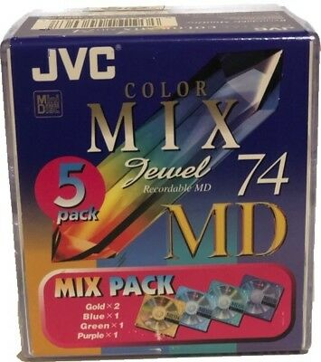 JVC Blank Recordable MiniDisc Color Mix Jewel 74 MD 5 Pack