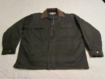 Natural Issue Men's XXL Olive Green~Lined~Jacket~Coat With Suede Leather Collar